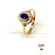 Нет в наличии! Золотое кольцо с нано сапфиром и цирконием