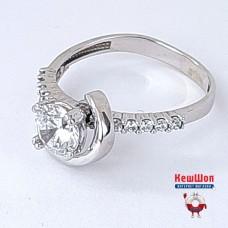 Золотой комплект с цирконием (кольцо, серьги)