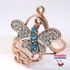 Золотое кольцо с бирюзовым и белым цирконием