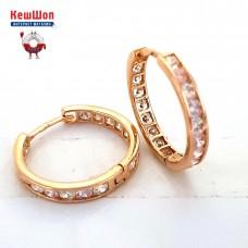 Золотые серьги-кольца с цирконием (двухсторонние)