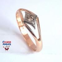 Золотое кольцо с бриллиантом (коньячный цвет)