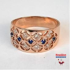 Нет в наличии! Золотое кольцо с нано сапфирами и цирконием