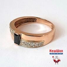 Золотое кольцо с агатом и цирконием