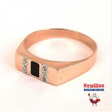 Золотой перстень с агатом и цирконием