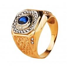 Золотая печатка с сапфиром и бриллиантами