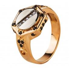 Золотой перстень с синими и белыми фианитами