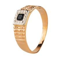 Золотой перстень с черным корундом и цирконием