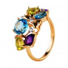 Продано! Золотое кольцо с самоцветами