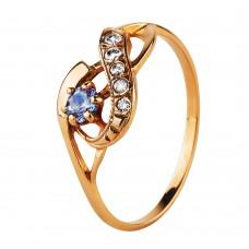 Золотое кольцо с голубым и белым корундом
