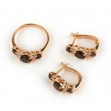 Золотой комплект с раухтопазами и цирконием(кольцо и серьги)