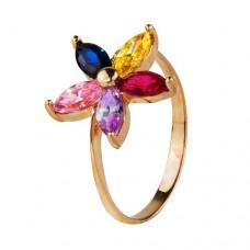 """Бронь! Золотое кольцо с цирконием """"Пятицветик"""""""