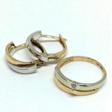 V Золотой комплект: кольцо с бриллиантами и серьги