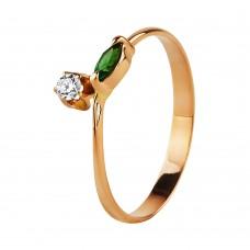 V Золотое кольцо с цирконием и хризолитом