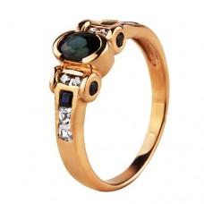 Нет в наличии! Золотое кольцо с нано сапфиром и кубическим цирконием