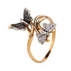 """Бронь! Золотое кольцо с цирконием """"Бабочки"""""""