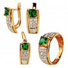 Золотой комплект с турмалином и цирконием (серьги, кольцо и кулон)