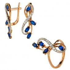 Золотой комплект с синими и белыми фианитами (кольцо и серьги)