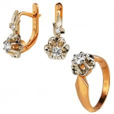 V Золотой комплект с бриллиантами: кольцо и серьги
