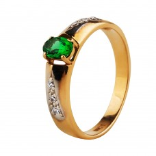 Золотое кольцо с зеленым корундом