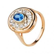 Золотое кольцо с голубыми топазами и цирконием