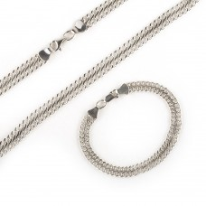 V Серебряный комплект: цепь и браслет