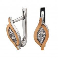 Серебряные серьги с цирконием и золотыми вставками
