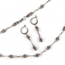 Серебряный комплект: серьги и цепочка