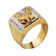 Золотая печатка с бриллиантами и рубином