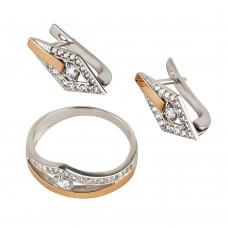Продан! Серебряный комплект с золотыми вставками и цирконием: кольцо и серьги