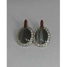 """Бронь! Серебряные серьги с позолотой (вставки: цирконий и """"кошачий глаз"""")"""