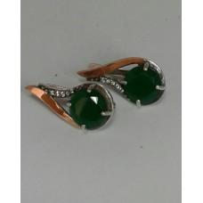 Бронь! Серебряные серьги с позолотой (вставки: цирконий и зеленый кристалл)