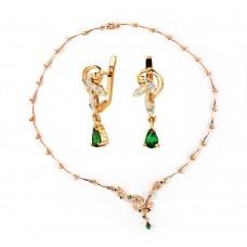 Золотой комплект с турмалином и цирконием(колье и серьги)