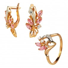 Золотой комплект с цирконием (кольцо и серьги)