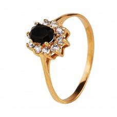 Золотое кольцо с ониксом и цирконием