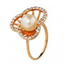 """Золотое кольцо с жемчугом и цирконием """"Настурция"""""""