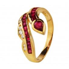 """Золотое кольцо с бриллиантами и рубинами """"Анаконда"""""""