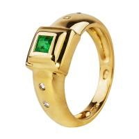 Бронь! Золотое кольцо с изумрудом и бриллиантами «Hollie»
