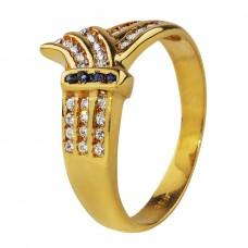 Нет в наличии! Золотое кольцо с нано сапфирами и фианитами