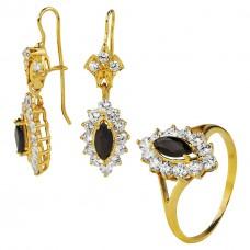 Золотой комплект с черными и белыми топазами