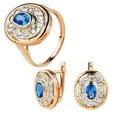 Золотой комплект с голубыми топазами и цирконием (кольцо и серьги)