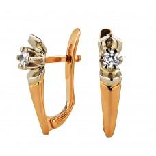 V  Золотые серьги с цирконием бриллиантовой огранки