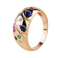 Бронь! Золотое кольцо с бриллиантами, сапфирами, рубинами и изумрудами