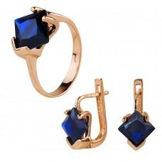 Золотой комплект: кольцо и серьги с сапфирами