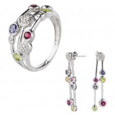 Золотой комплект: кольцо и серьги с цирконием