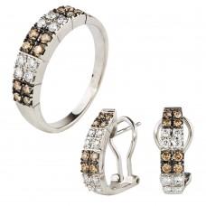 Золотой комплект с бриллиантами: кольцо и серьги