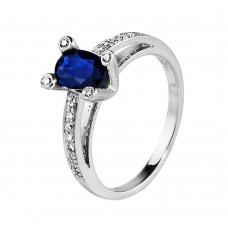 Золотое кольцо с сапфиром и цирконием