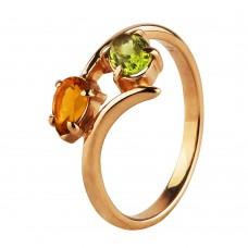"""Золотое кольцо с цитрином и хризолитом """"Летняя симфония"""""""