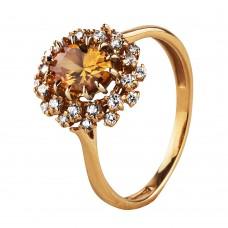 """V Золотое кольцо с цитрином и цирконием """"Ноктюрн"""""""