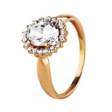 """Золотое кольцо с большим цирконием """"Tiffany Love"""""""