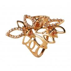 Золотое кольцо с топазом и  цирконием стиле арт-деко